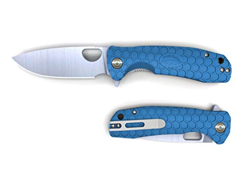 Western Active Honey Badger Pocket Knife Folding Ball Bearing Flipper 8cr13MOV Steel Deep Pocket Carry Clip Gift Box with Torx Wrench (Straight-Blue, Medium)