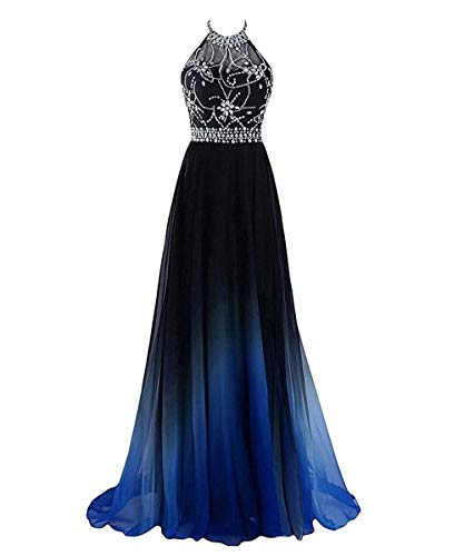 Halter Crystals Ombre Long Evening Dress Open Back Chiffon A Line Wedding Party Dress Black&Blue H 2