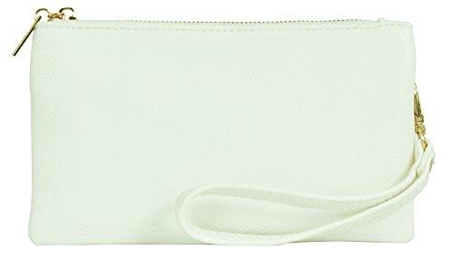 Big Handbag Shop - Cartera de mano con asa de piel sintética para mujer Style 2 - White