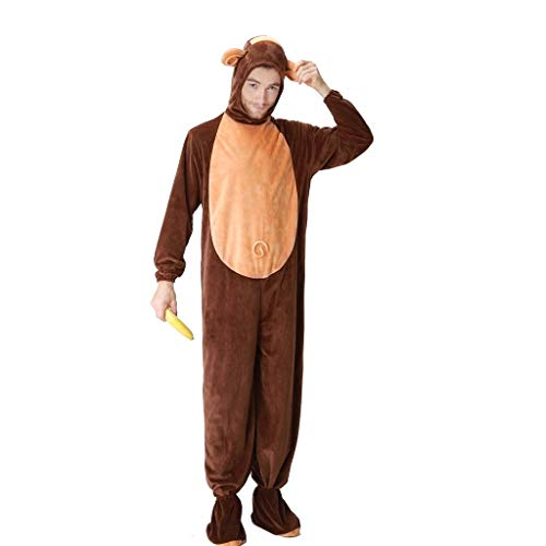 MIS1950s Monkey Romper Halloween Masquerade Party Hooded Tops Novelty Cosplay Costumes for Men Women,w/Foot Cover (Brown,