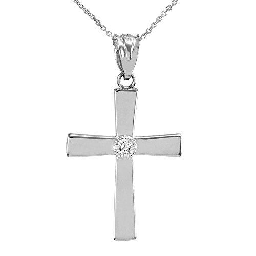 Collier Femme Pendentif 14 Ct Or Blanc Croix avec Diamant (Livré avec une 45cm Chaîne)