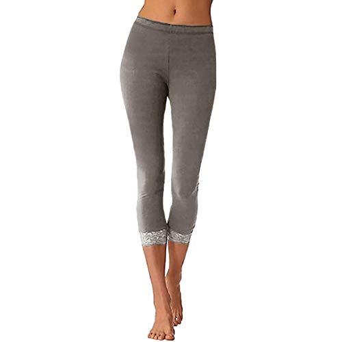 Honhui Women's Solid Color Lace Soft Yoga Pants Skinny Pants (Gray, M)