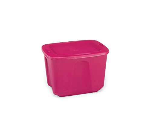 Homz Plastic Storage Tote Box with Lid, 18 Gallon, Bright Rose, Stackable, 8-Pack