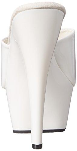 Pleaser KISS-201, Damen Plateau Sandalen Weiß (Weiss (Wht Pat/Wht))
