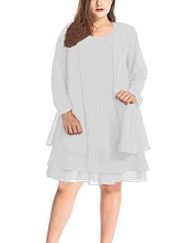 MISSJOY Women\'s Plus Size Chiffon Summer Dress Business Mother of the Bride  Dress with Jacket 2pcs Set
