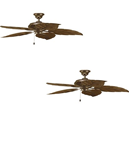 (Set of Two - No. P2526-20 - Airpro 52-in Antique Bronze Downrod or Flush Mount Ceiling Fan - Progress Lighting)
