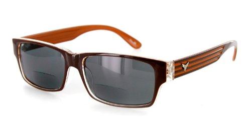 Mako Fashion Bifocal Sunglasses with Retro Wayfarer Design and Youthful, Stylish Men and Women (Brown/Smoke - Sunglasses Mako