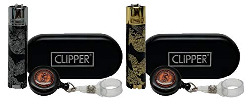 Clipper Full Metal Super Dragons Lighters with 2 RPD Lighter Lassos- 1 Gold 1 Silver