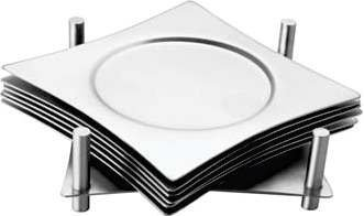 Zap Impex Square Coaster Set of 6 with Holder Made of Stainless Steel Stainless Steel Saucer to prevent Stains and Scratches by Juice, Glasses, Bar, Drinks Cups, Coffee Cups