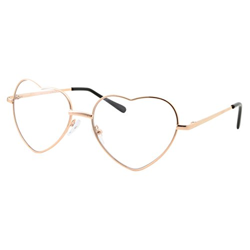 Heart Shaped Gold Clear Lens Eye Glasses Sunglasses -