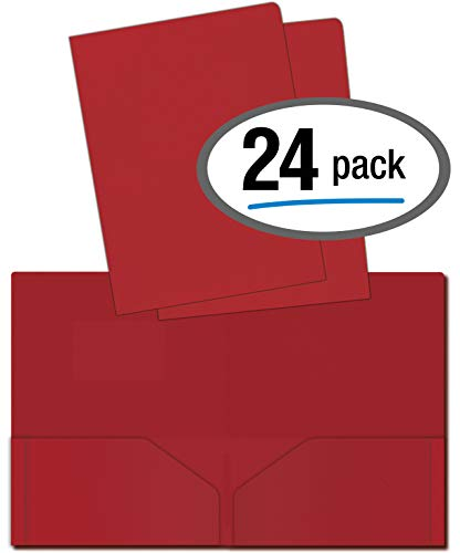 (Heavyweight Plastic 2 Pocket Portfolio Folder, Letter Size Poly Folders by Better Office Products, 24 Pack (Red))