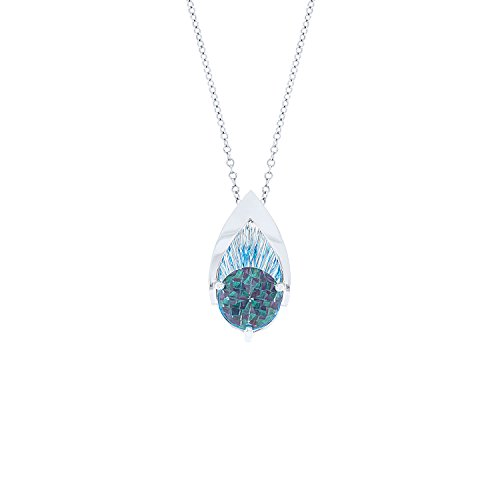 (Galatea 14k White Gold DavinChi Cut Blue Topaz Pendant Necklace,)