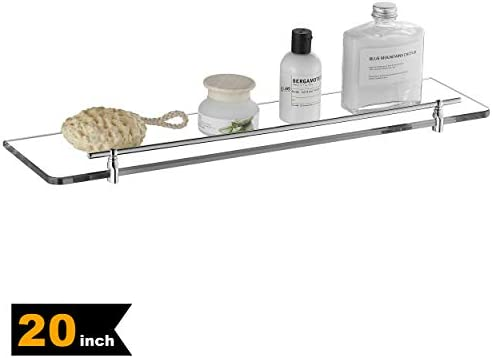 Royal H H 20-inch Flat Chrome Glass Bathroom Shelf Modern Premium Glass Brass Wall-Mounted Shelf