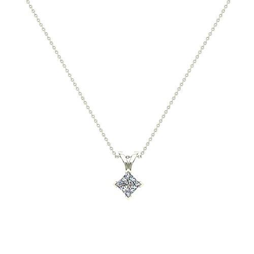 Princess Cut Kite Solitaire Diamond Necklace 14K Gold (G,I1) Premium Quality