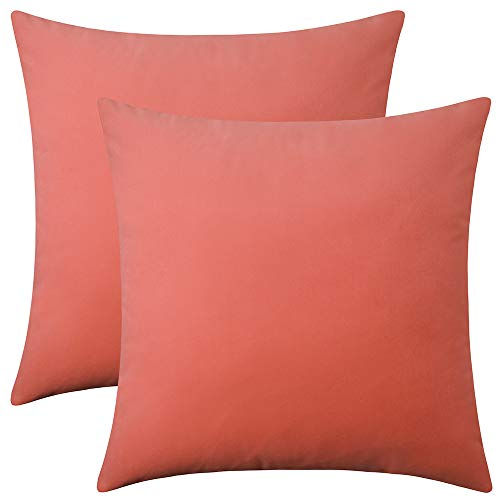 Artcest Set of 2, Decorative Square Velvet Throw Pillow Cases for Bedroom and Sofa, Soft Solid Cushion Covers for Couch and Car, 18