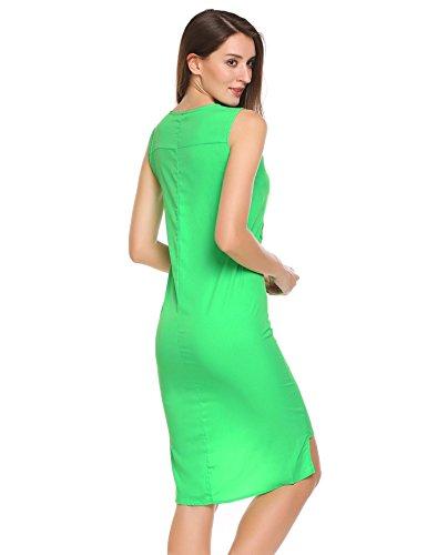 ... Meaneor Damen Festlich Ärmellos V Ausschnitt Bodycon Kleid Schlitz Kleid  Etuikleid mit Gürtel Grün 4KRoGJzo ... a8efac7f18