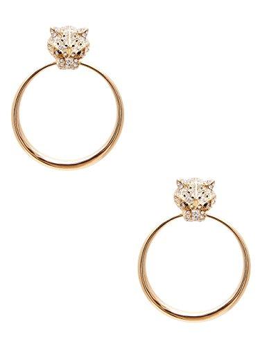 GUESS Women's Leopard Doorknocker Hoop (Door Knocker Pierced Earrings)