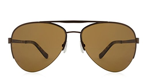 Calvin Klein Collection Mens Polarized Semi Rimless Aviator Sunglasses Brown - Sunglasses Men Klein Calvin