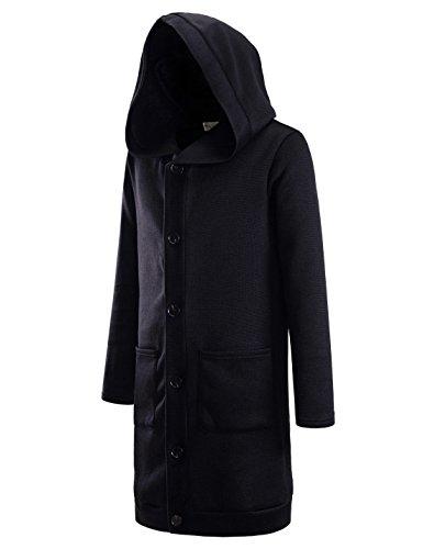 NEARKIN (NKNKTNC606 Mens Fleece Slim Cut Look 6 Button Hoodie Long Cardigan Black US XL(Tag Size XL) ()