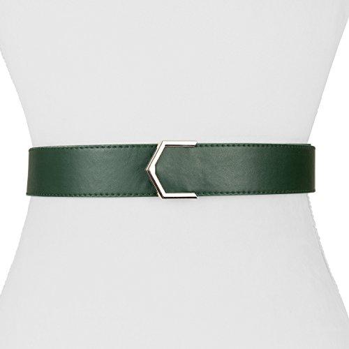 Two 12 Fashion Women's Vegan Leather Arrow Point Belt, Army Green