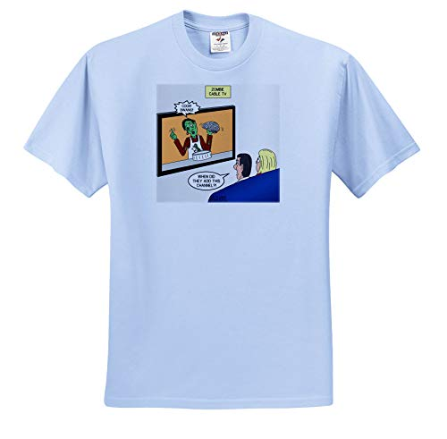 3dRose Rich Diesslins Funny Out to Lunch Cartoons - The Zombie Channel - if Zombies had Their own Cable tv Channel - T-Shirts - Adult Light-Blue-T-Shirt Medium (ts_306030_51) -