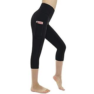 Dragon Fit High Waist Yoga Pants Capri with 3 Pockets,Tummy Control Workout Running Capri 4 Way Stretch Yoga Leggings (Large, Capri59N-Black)