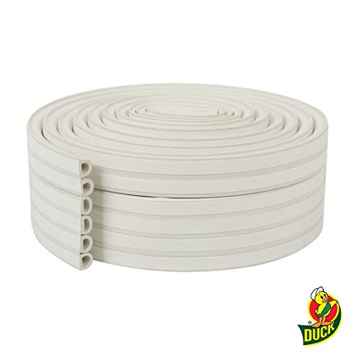 Duck Brand Heavy Duty Self-Adhesive Weatherstrip Seal For Large Gaps, White, 3/8 inch x 1/4 inch x 17, 3 Seals, 285231