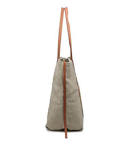 Trabajo Bolsos Bolso de Mujer Bags Kuandar Capacidad Rosa gran Bandolera De Cuerpo Lona Cruzada qxSpfEIwC