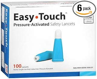 Easy Touch Pressure-Activated Safety Lancets 30 Gauge - 100 ct, Pack of 6 by Easy Touch