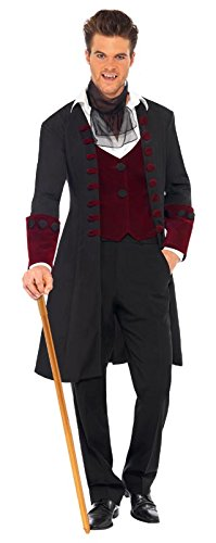 Male Gothic Vamp Costume with Coat Mock Waistcoat and Crava