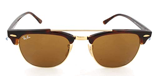Ray-Ban RB3816 Clubmaster Double Bridge Square Sunglasses, Red Tortoise/Brown, 51 mm