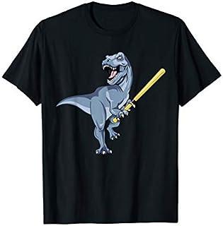 Dinosaur Baseball Bat Soft Ball Kids TRex Gift Little League T-shirt | Size S - 5XL