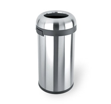 simplehuman Bullet Open Top Trash Can, Commercial Grade, Heavy Gauge Stainless Steel, 60 L/16 Gal -