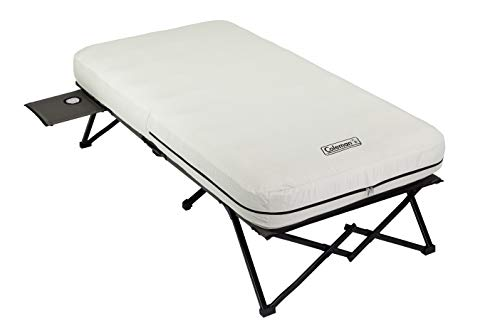 Coleman Twin Airbed Folding Cot with Side Table and 4D Battery Pump (Coleman Twin Double High Air Mattress With Pump)