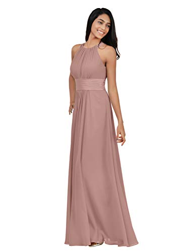 Alicepub Chiffon Bridesmaid Dresses Long for Women Formal Evening Party Prom Gown Halter, Silver Pink, US8