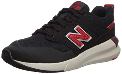 New Balance Boys' 009 V1 Running Shoe, BLACK/VELOCITY RED, 4 W US Big Kid
