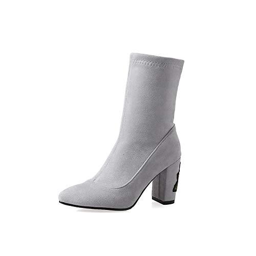 Light Grey US3.5   EU33   UK1.5   CN32 Light Grey US3.5   EU33   UK1.5   CN32 Women's shoes Suede Elastic Fabric Spring &Fall Fashion Boots Boots Chunky Heel Pointed Toe Mid-Calf Boots Black Light Grey Party & Evening