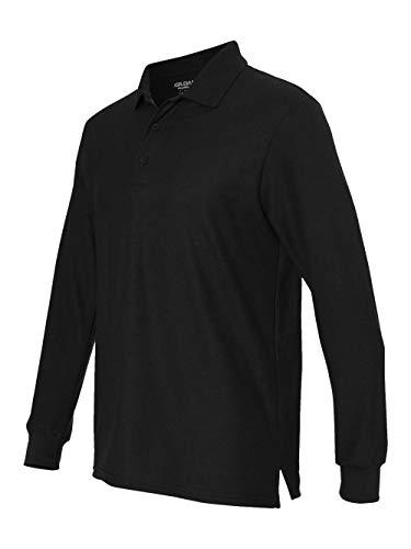 Gildan Mens Drybelnd Double Pique Long-Sleeve Polo (G729) -BLACK -XL