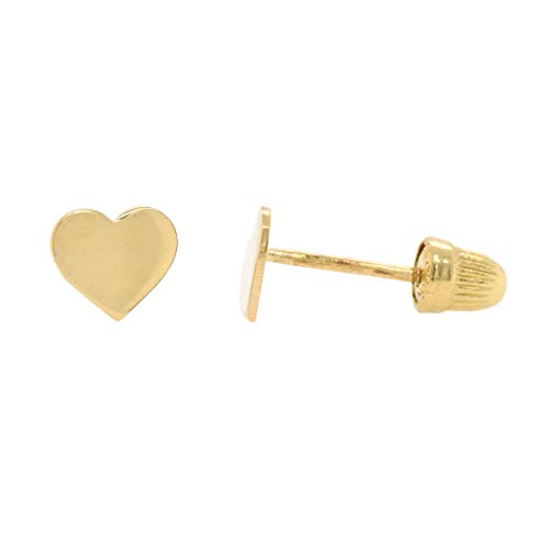 (Cute Solid Simple Flat Heart 14k Yellow Gold Screw Back Studs Earrings Locking Backs Pair)