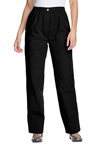 Woman Within Plus Size Petite Cotton Straight Leg Mockfly Jean - Black, 16 WP