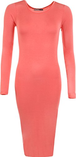 WearAll Womens Round Coral Dress Long Stretch Neck Plain Bodycon Midi Sleeve rr1YwBdq
