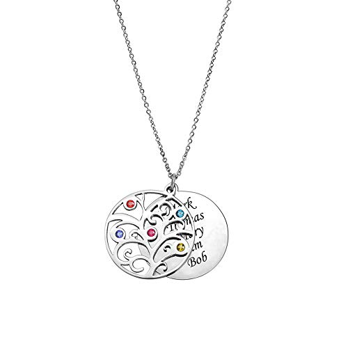 ANAVIA Personalized Birthstone Necklace Family Tree Jewelry Custom Name Silver Plated Stainless Steel Pendant Necklace Gift for Women Mother Grandma, Free Engraving