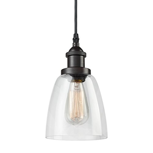 - CLAXY Ecopower Industrial Mini Glass Pendant Oil-Rubbed Bronze Hanging Light Fixture