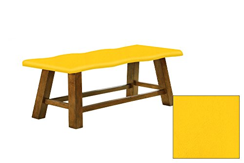 "Honey Oak 24"" Tall Counter Height Wavy Bench Featuring Your Choice of a Colored Vinyl Covered Padded Seat Cushion (Yellow Vinyl Seat)"