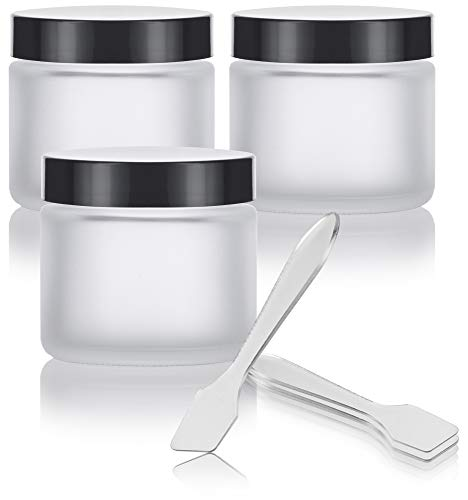 Frosted Clear Glass Straight Sided Jars - 2 oz (3 Pack) + Spatulas