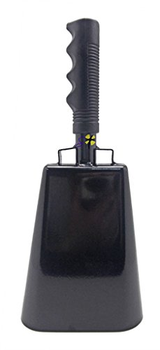 11.2 inch Black Bell Black Handle Cowbell with Stick Grip Handle Used for Cheering at Sporting Events - Cow Bell by Stewart ()