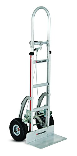 Magliner-NPK13CG245-Aluminum-Paddle-Brake-Hand-Truck-Single-Pin-Handle-Extruded-Aluminum-Nose-Plate-10-Pneumatic-Wheels-500-lb-Capacity-40-Length-12-Height-14-Width