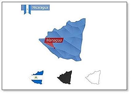 Amazon.com: Nicaragua Map With Capital Managua - Classic ...