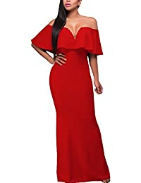 Womens Sexy V Neck Ruffle Off Shoulder Evening Maxi Party Dress