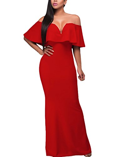 AlvaQ Women Summer Sexy Graduation V Neck Ruffle Off The Shoulder Evening Long Maxi Party Dress Red]()